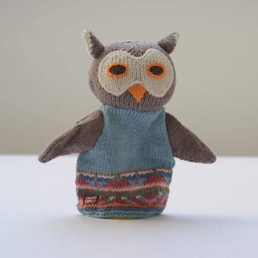 Blue Owl Hand Puppet in Organic Cotton