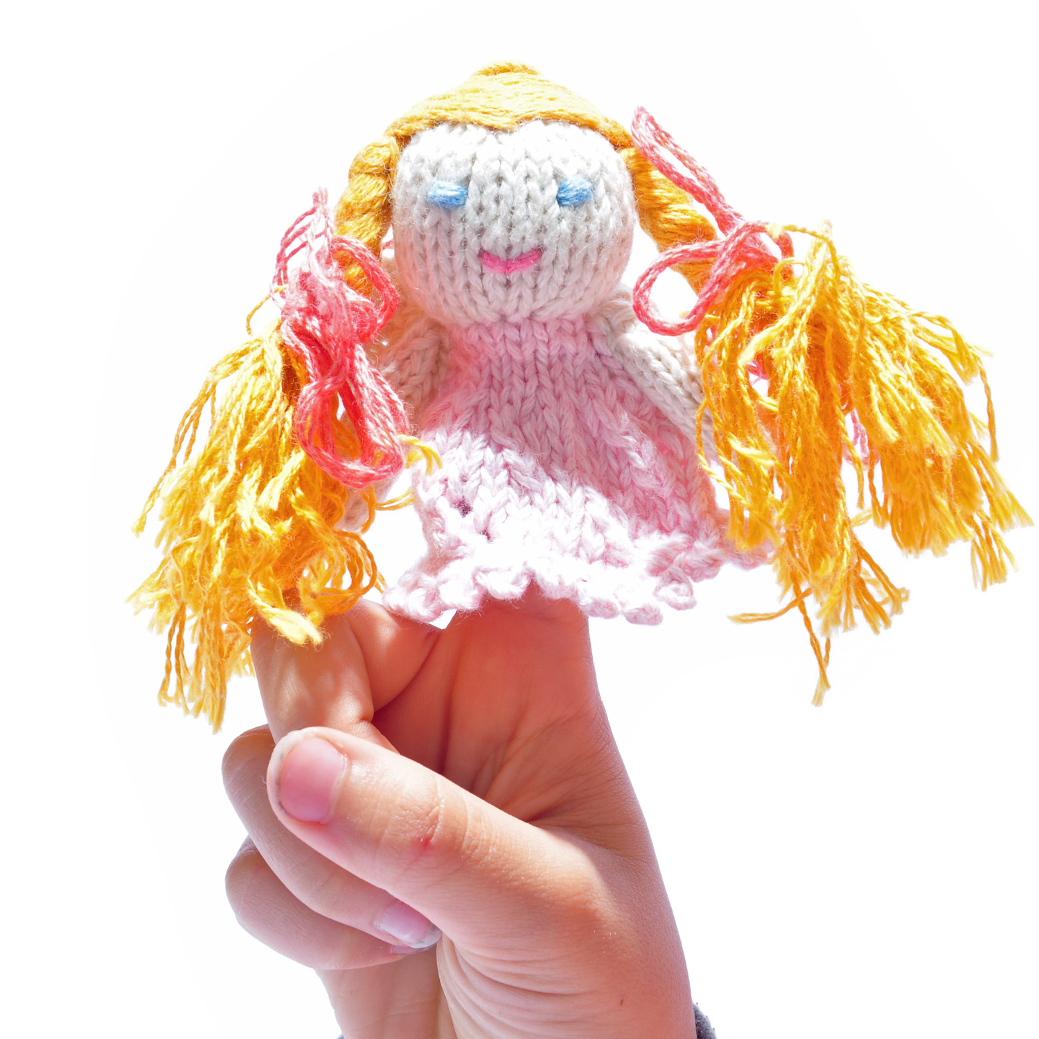 Pink Angel Finger Puppet in Organic Cotton