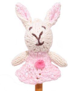 Rabbit Finger Puppet in Pink Dress