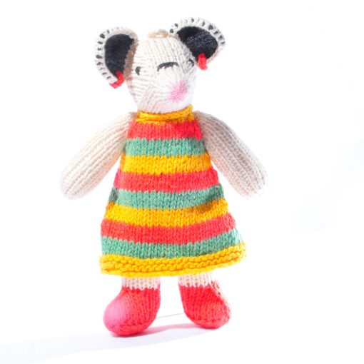 Mouse Toddler in Stripy Dress