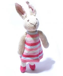 Rabbit Soft Toy in Stripe Dress
