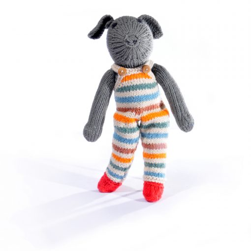 Grey Pig in Changeable Stripy Dungarees