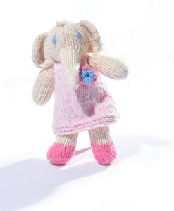 Elephant Toddler in Pink Flower Dress