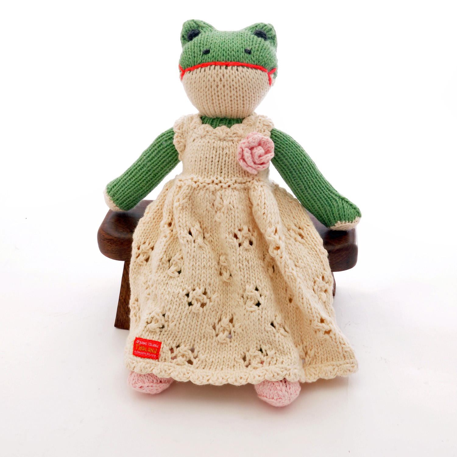 Frog Soft Toy in White Flower Dress