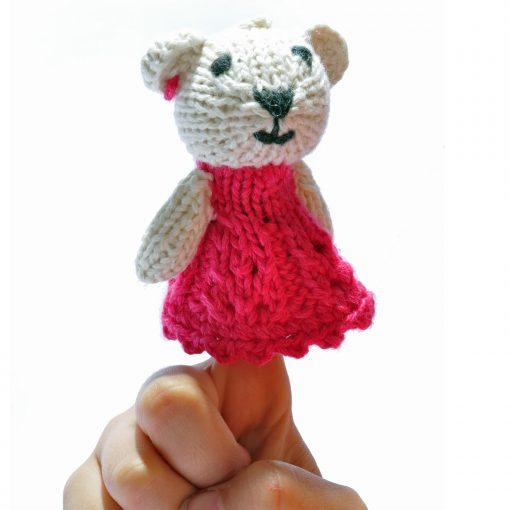 Bear Finger Puppet in Red Dress