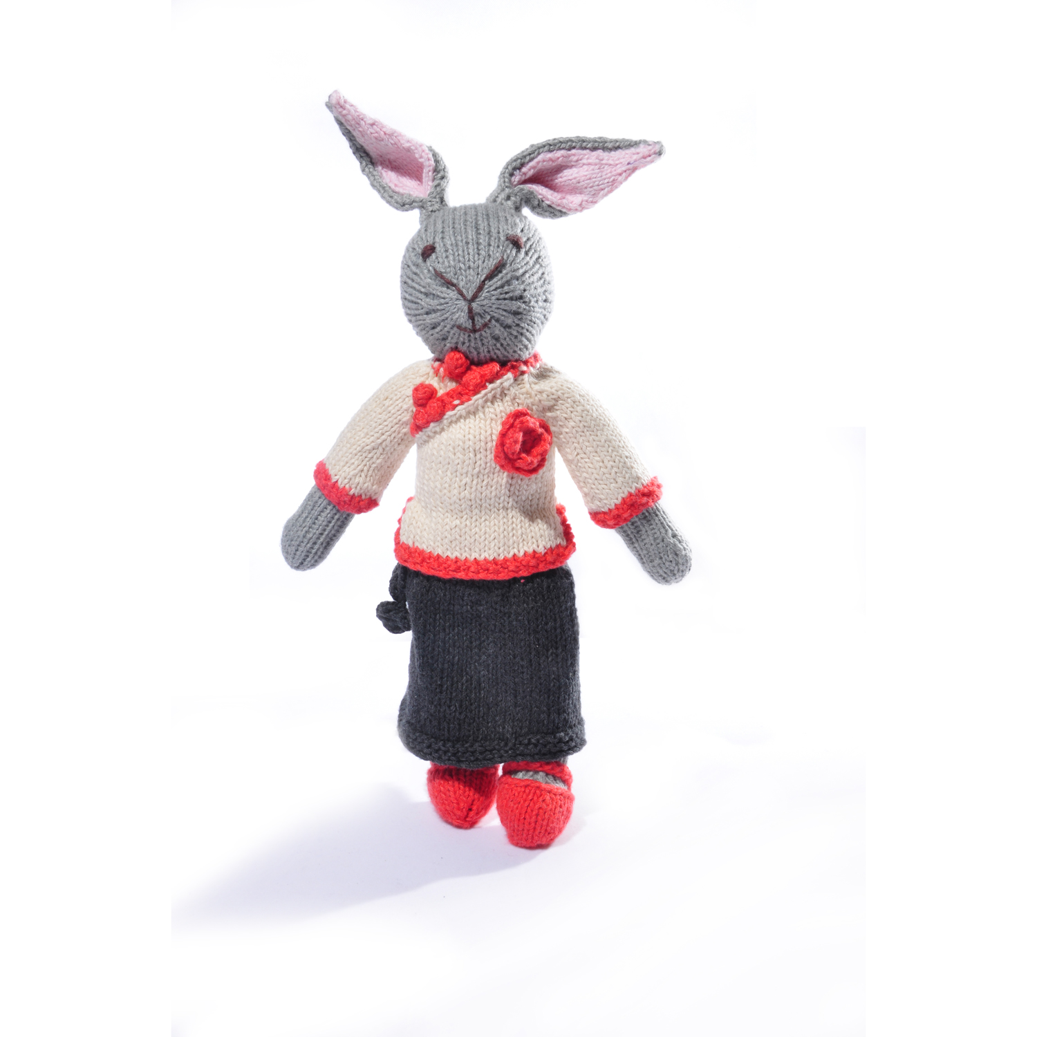 Rabbit Soft Toy in Changeable Outfit - Black/Cream