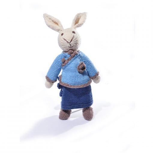 Rabbit Soft Toy in Chinese Twotone Blue Dress