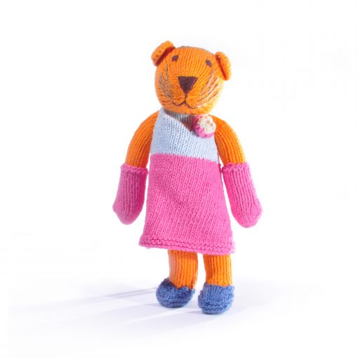 Tiger Soft Toy in Twotone Pink Flower Dress
