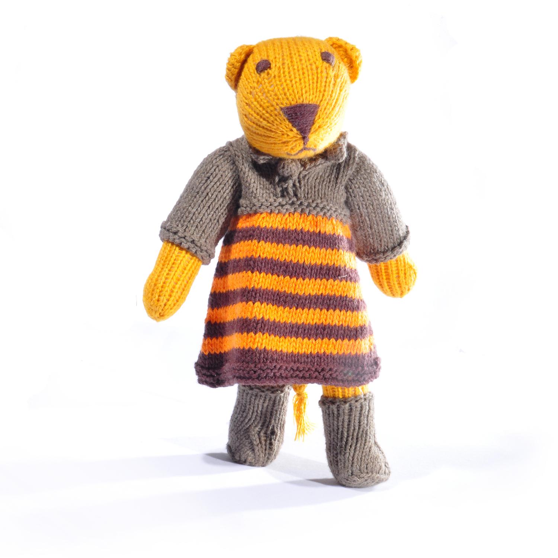 Lion Soft Toy in Stripe Dress