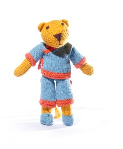 Lioness Soft Toy in Blue Chinese Suit