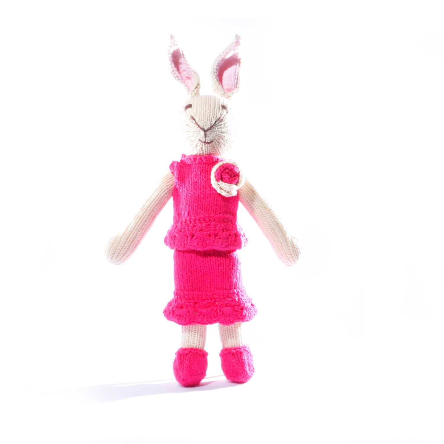 Rabbit Soft Toy in Raspberry Flower Suit