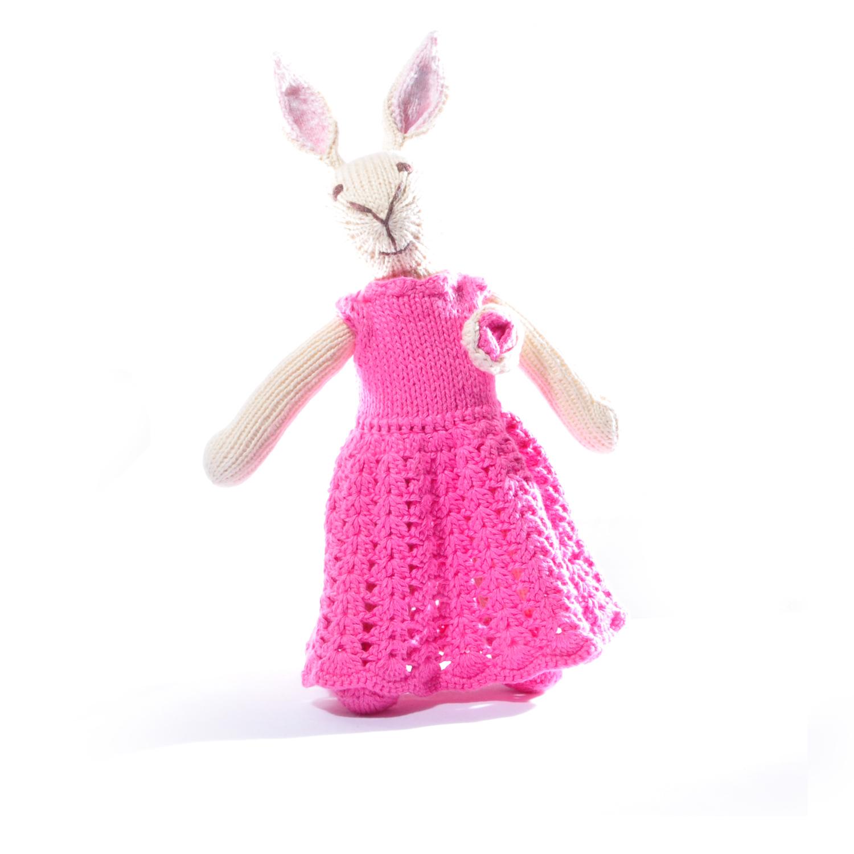 Rabbit Soft Toy in Crochet Purple Dress
