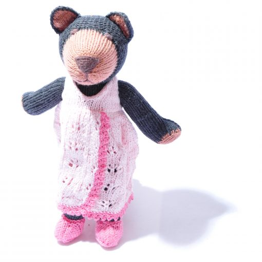 Organic Cotton Bear Soft Toy in Changeable Pink Dress