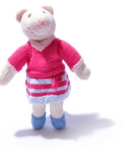 Organic Cotton Cat Soft Toy in Changeable Outfit by ChunkiChilli