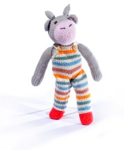 Cow Soft Toy in Stripy Dungarees