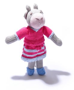 Cow Soft Toy in Pink Outfit/Stripe Skirt