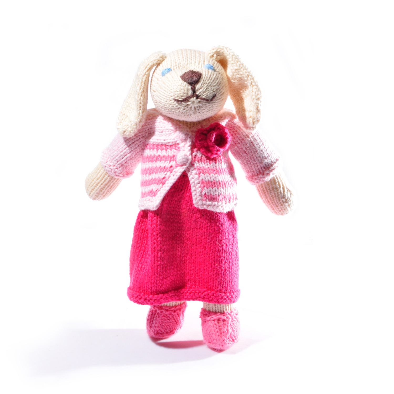 White Dog Toy in Outfit with Stripy Top