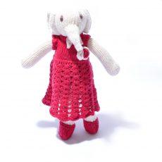 Organic Cotton Elephant Soft Toy in Crochet Dress by ChunkiChilli