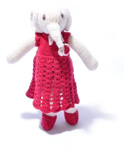 Organic Cotton Elephant Soft Toy in Crochet Dress by ChunkiChilli