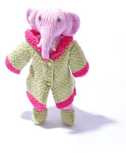 Organic Cotton Elephant Soft Toy in Dressing Gown