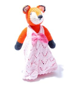 Organic Cotton Fox Soft Toy in Pink Dress
