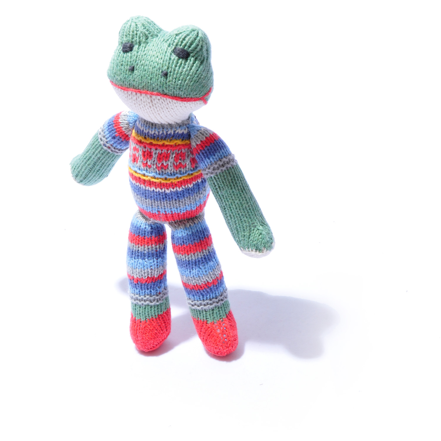 Frog Soft Toy in Stripy Fairisle Top by ChunkiChilli