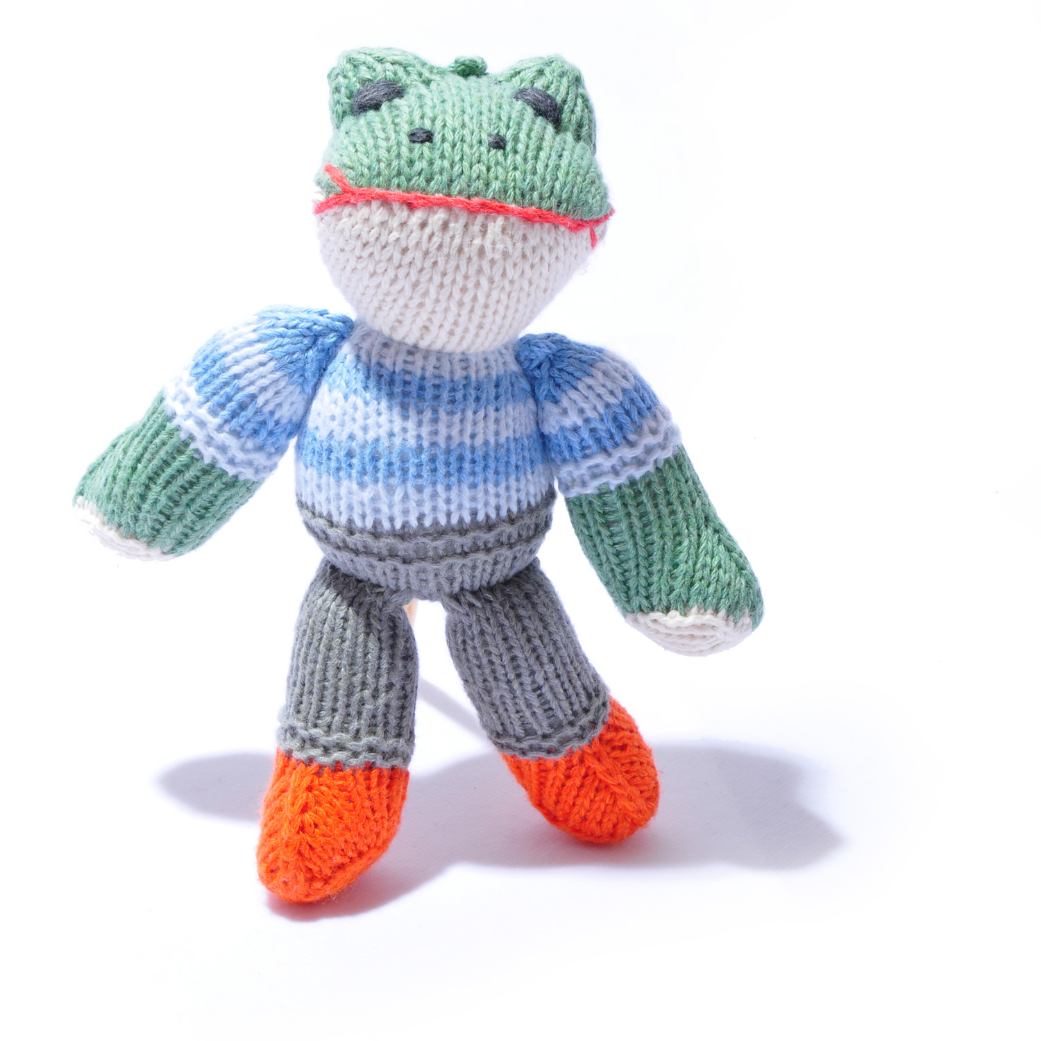 Frog Toddler Soft Toy in Blue Stripy Top