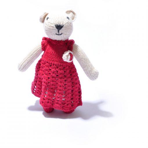 Polar Bear in Crochet Dress