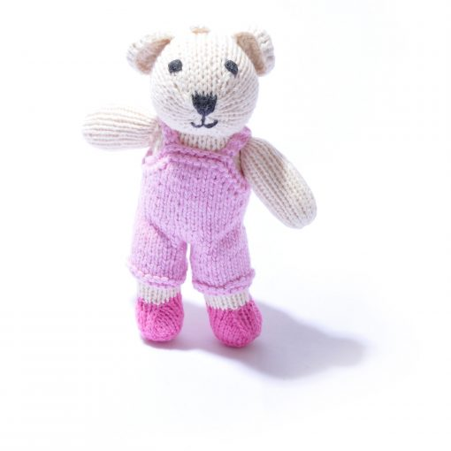 Toddler Polar Bear in Pink Dungarees