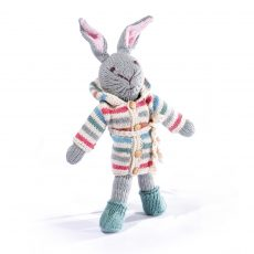 Organic Cotton Rabbit Soft Toy in Stripy Hoodie