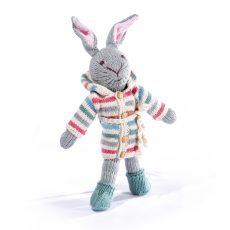 Organic Cotton Rabbit Soft Toy in Stripy Hoodie