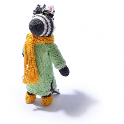Organic Cotton Zebra in Green Coat and Hat by ChunkiChilli