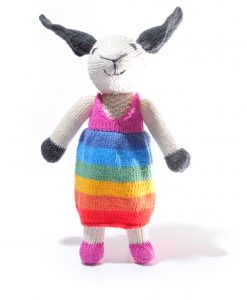 sheep soft toy in rainbow dress