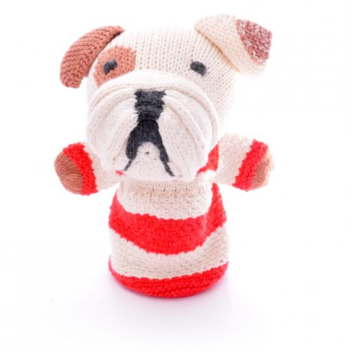 Hand knitted bulldog hand puppet in organic cotton