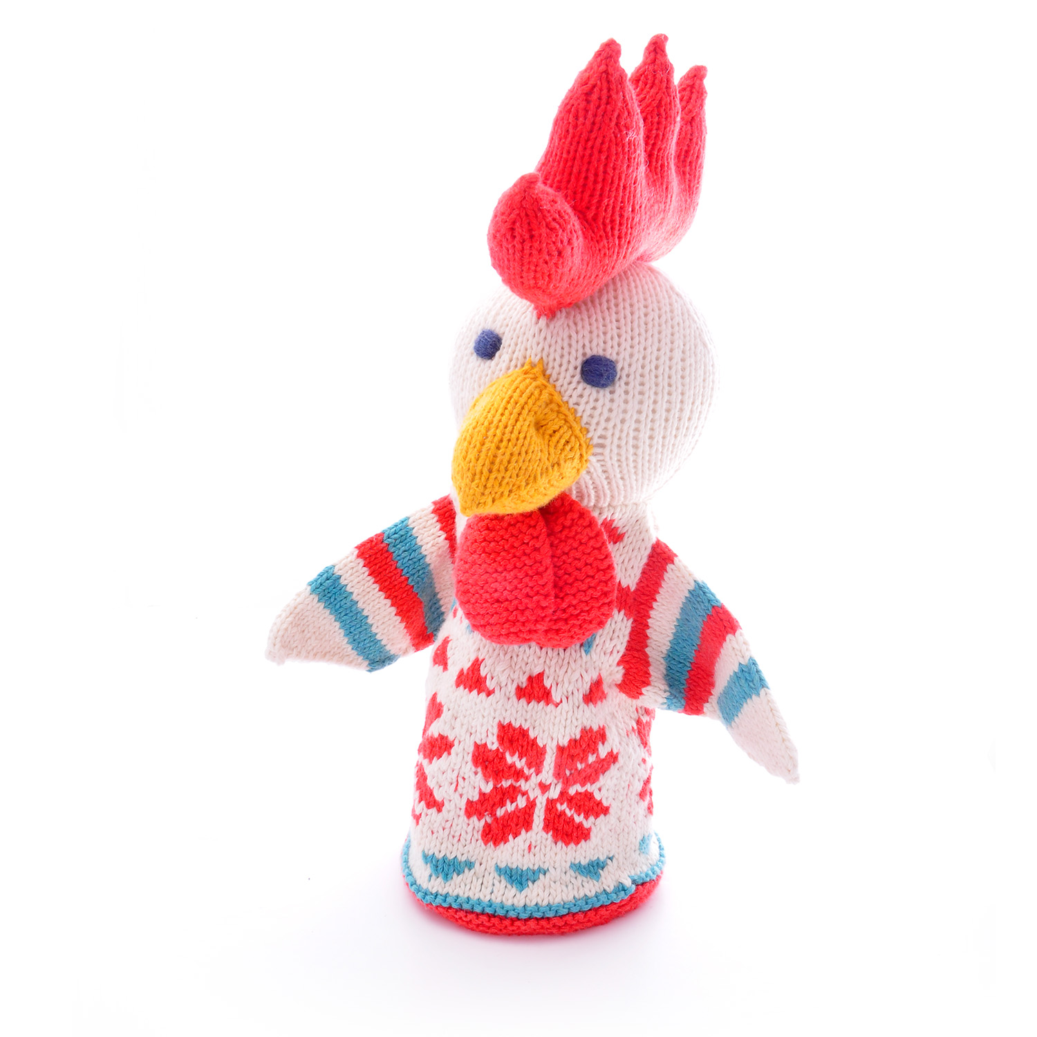 Hand knitted chicken puppet