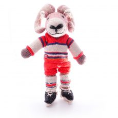 Ram soft toy in ice hockey outfit