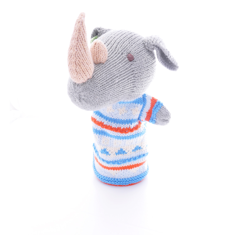 Hand knitted rhino hand puppet