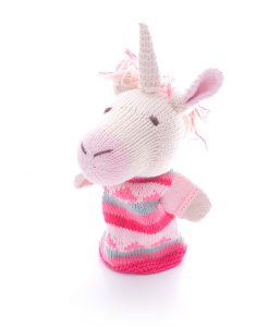 Hand knitted unicorn puppet in organic cotton