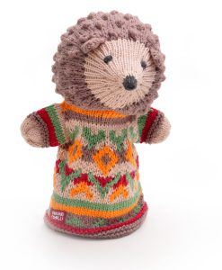ChunkiChilli Hand Knitted Hedgehog Hand Puppet in Organic Cotton