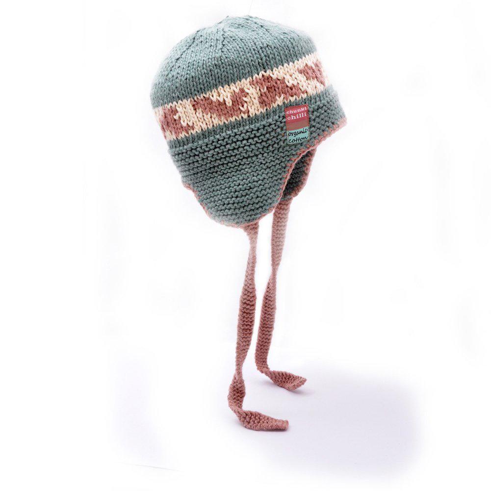 ChunkiChilli Green Fairisle Earflap Hat