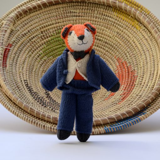 ChunkiChilli Knitted Bear in Blue Suit